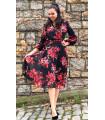 Floral Pattern Black Lined Chiffon Midi Dress