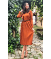 Pleated Brick Color Dress with Belt Brick Color