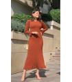 Maxi Knitwear Dress With Flywheel Skirt Brick Color