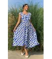 Daisy Pattern Sleeveless Viscose Dress Blue