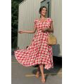 Daisy Pattern Sleeveless Viscose Dress Red